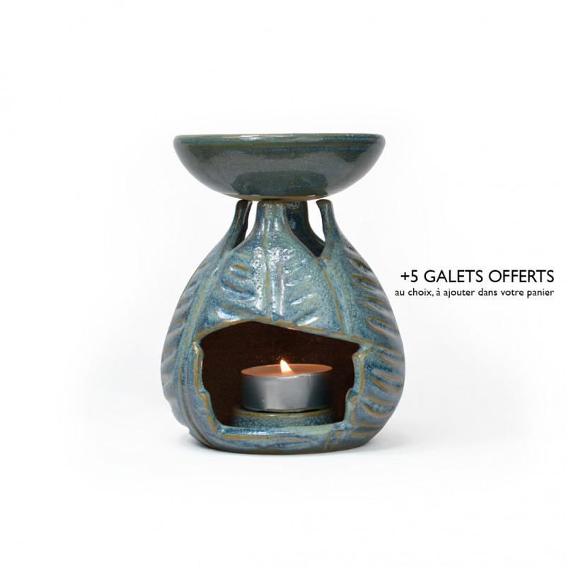 Brûle-parfum feuilles bleu ciel