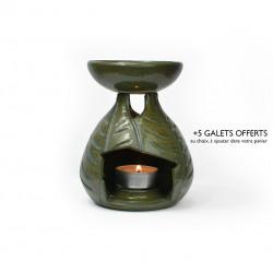 Brûle-parfum feuilles vert antique 1