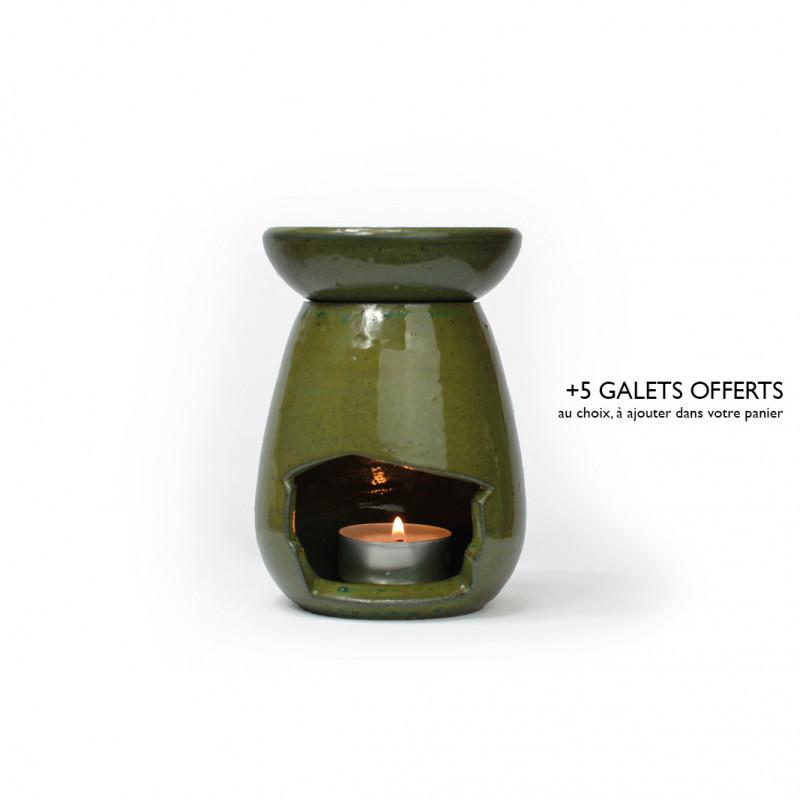 Brûle-parfum goutte vert antique 1