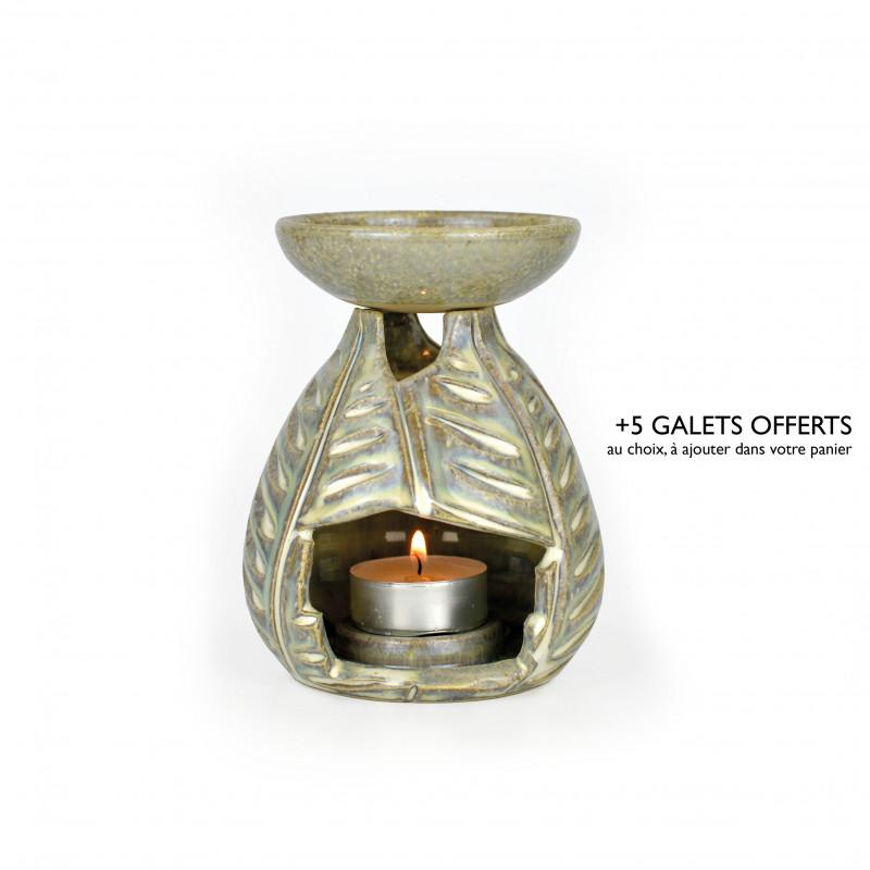 brûle-parfum feuille gris irisé