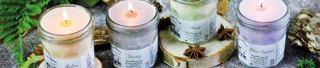 Bougies parfumées épicées boisées : parfums épices Bougies de Charroux